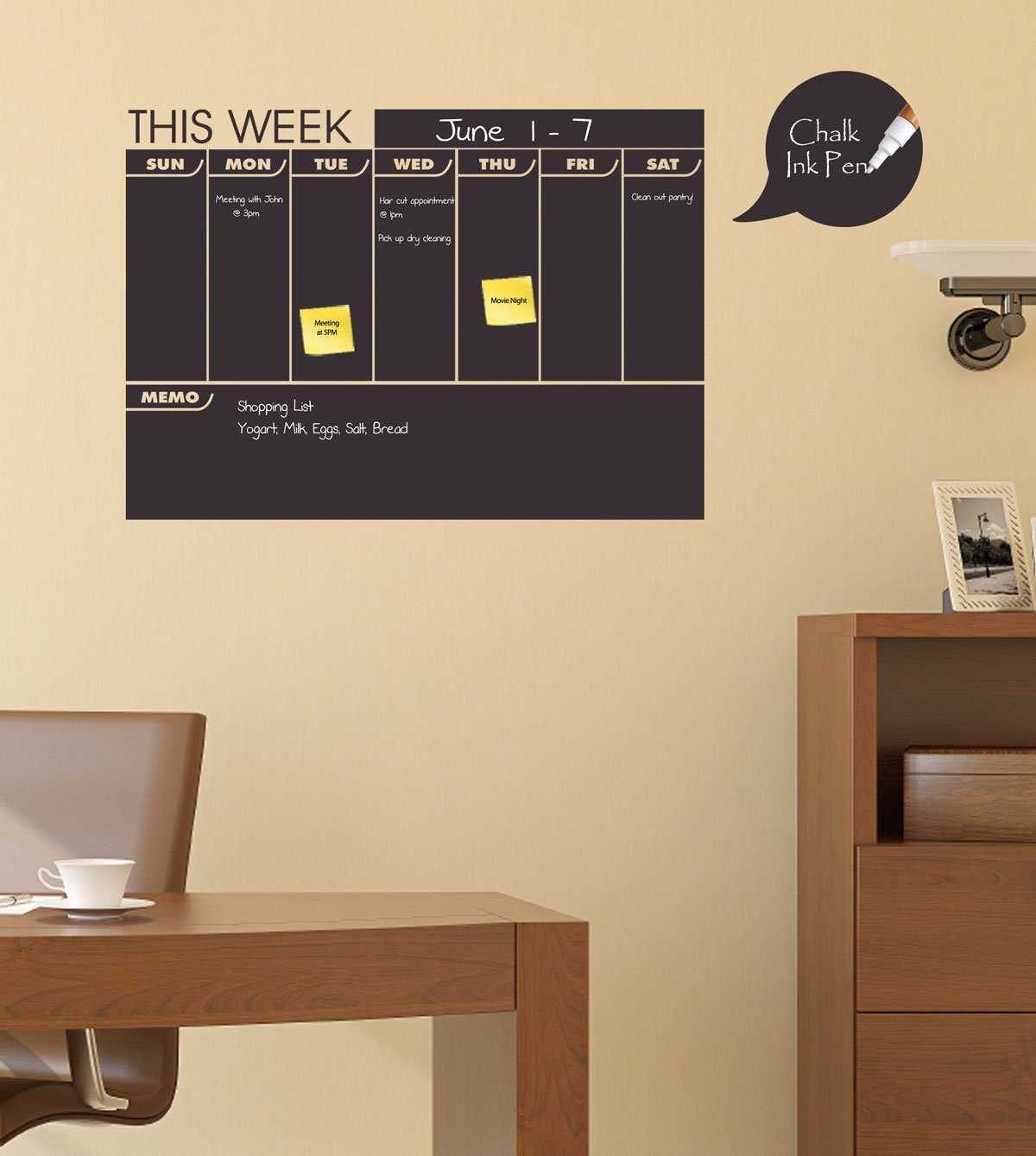 Weekly Chalkboard Calendar with Memo Area - Monthly Planner