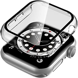 EWUONU Clear Watch Case for Apple Watch Series 6/SE/5/4 40mm with Tempered Glass Screen Protector 40mm, Hard PC Case Slim Overall Protective Cover for iWatch Series 6/SE/5/4