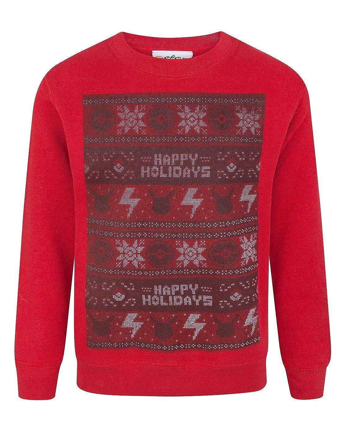 Pokemon Happy Holidays Christmas Kid's Sweatshirt Fashion UK