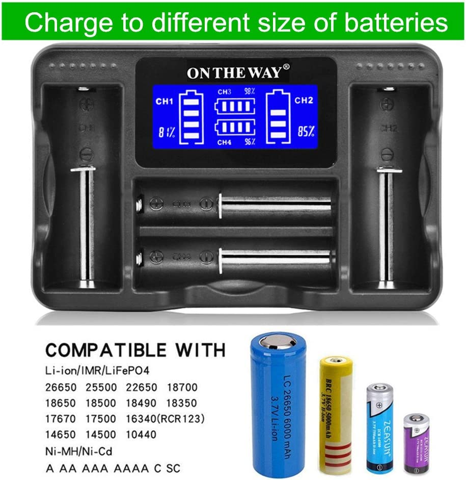 Zeasun Smart Battery Charger for 14500 16340 18650 26650 AA AAA 18490 18350 17670 17500 LCD Display USB Universal Battery Charger for Li-ion Ni-MH Ni-CD LiFePO4 Rechargeable Batteries