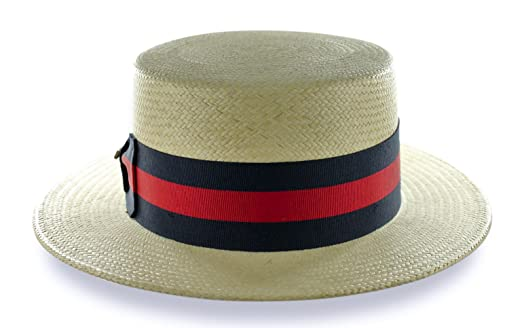 NEW SCALA PANAMA STRAW SKIMMER BOATER TEFLON COATED NATURAL GROSGRAIN USA  HAT (MEDIUM) at Amazon Men s Clothing store  22f8ec9bff8b