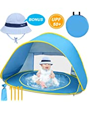 LOYO Baby Beach Tent with Built-in Pool - Ultralight Automatic Pop Up Tent UPF 50+ Beach Shade UV Protection Sun Shelters with Carry Bag and A Bonus Sunshade Hat for Toddler, Infant, Aged 0-3 (Blue)