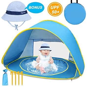 LOYO Baby Beach Tent with Built in Pool Ultralight Automatic Pop Up Tent UPF 50+ Beach Shade UV Protection Sun Shelters with Carry Bag and A Bonus