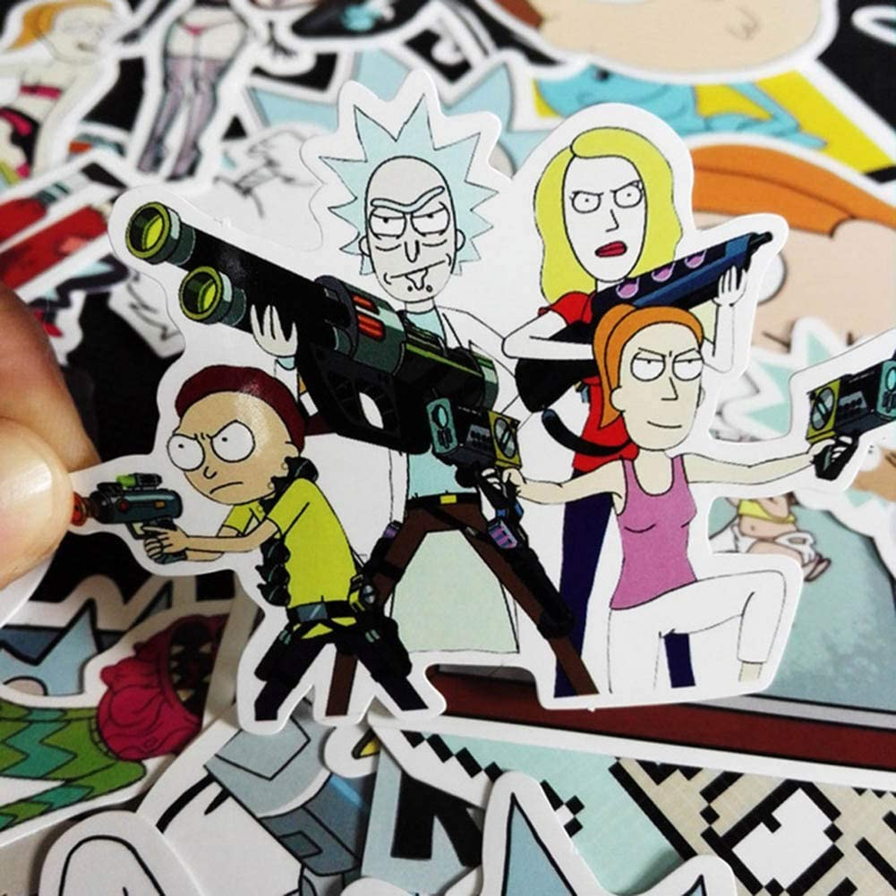 35 Pack Waterproof Vinyl Stickers Car Motorcycle Bicycle Skateboard Luggage Decal for Kids Teens Adult Fuguan Rick and Morty Sticker
