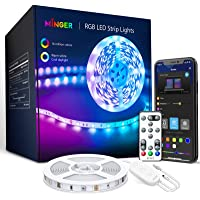 MINGER LED Strip Lights Bluetooth, 16.4ft Music Sync LED Lights with App Phone, Remote, Control Box, RGB Color Changing…