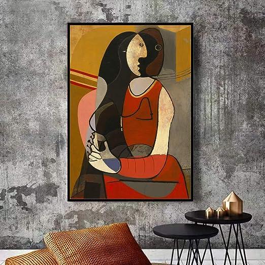 NIMCG Imprimir en el Lienzo Mujer Pablo Picasso Famosa Pintura Abstracta Réplica Cartel Familia Decoración del Pasillo (Sin Marco) R1 60x90CM