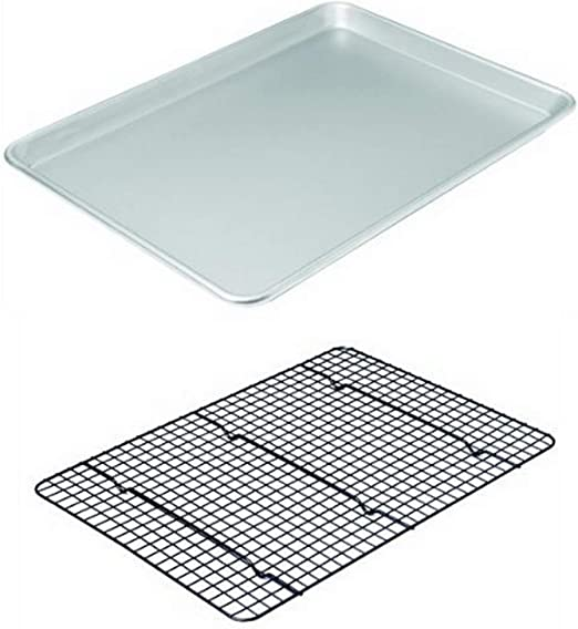 Chicago Metallic Professional Non-Stick Cookie//Jelly-Roll Pan Set with Cooling Rack 17-Inch-by-12.25-Inch