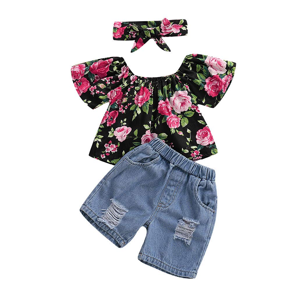 UK Stock Newborn Infant Baby Girl Solid Blouse Tops Floral Skirt Shorts Clothes