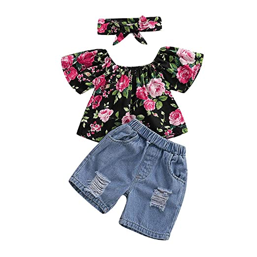 db9d7598f Amazon.com: Kasien Toddler Baby Outfits Set, Toddler Baby Girl Off Shoulder  Floral Print Tops+Hole Denim Jean Shorts Outfits: Clothing