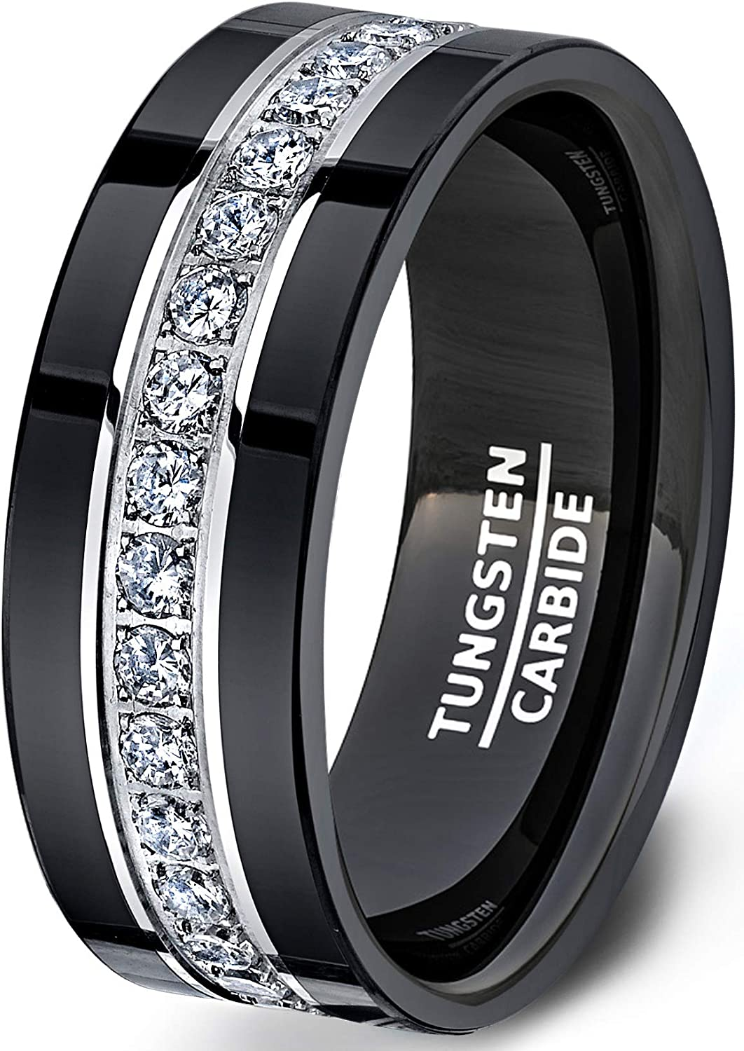 It is an image of Duke Collections Mens Wedding Band Black Tungsten Rings Fully Stacked Around The Ring with Cubic Zircon Comfort Fit