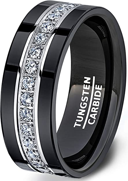 Duke Collections Mens Wedding Band Black Tungsten Rings Fully Stacked Around The Ring With Cubic Zircon Comfort Fit Amazon Com