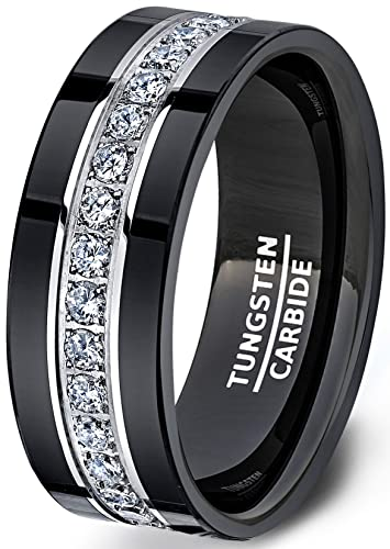 Mens Wedding Band.Duke Collections Mens Wedding Band Black Tungsten Ring Fully Stacked With Cubic Zircon Comfort Fit