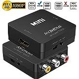 TXG Adaptador RCA a HDMI,720p/1080p Mini RCA Compuesto CVBS AV a HDMI,Convertidor de Señalde Xbox PS4, PS3,STB VHS VCR Cámara DVD a HDMI TV