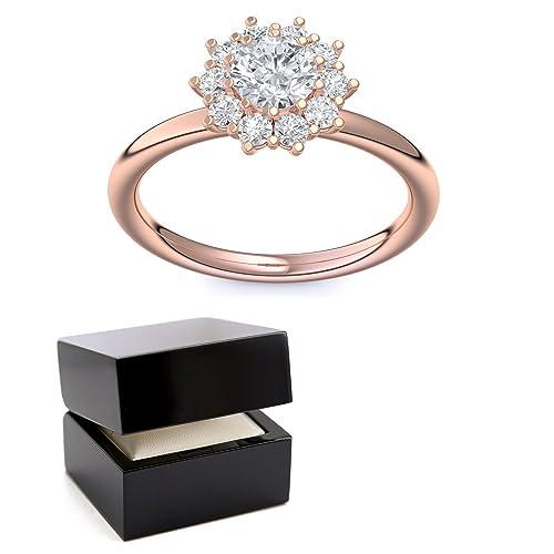 Oro rosa anillo circonios tales como el diamante de regalo matrimonio compromiso regalos anillos boda mujeres - AM48 VGRSZIFA: Amazon.es: Joyería