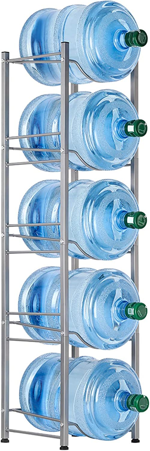 MOOACE 5-Tier Water Jug Rack, 5 Gallon Detachable Water Bottle Holder for Kitchen, Office, Home, Silver