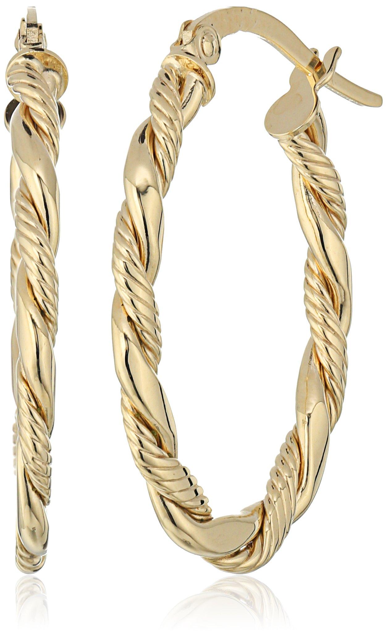 14k Yellow Gold Italian Oval Twisted Hoop Earrings