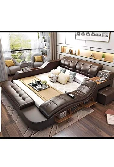 Niko All In One Leather Double Bed Frame With Speakers And Storage
