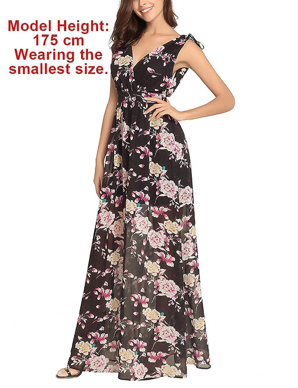 FeelinGirl Maxi Robe d/écollet/é au Dos Nu Taille Haute Bretelles en col V d/écontract/ée Femmes d/ét/é /à imprim/é Floral