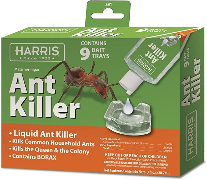Amazon Com Harris Ant Killer 3oz Liquid Borax Value Pack Includes 9 Bait Trays For Indoor Use Ant Trap Alternative Garden Outdoor