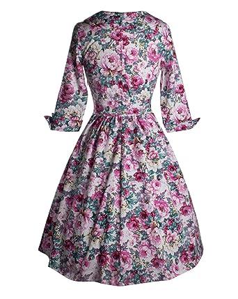 Wenseny Mujer Vestidos Clasico Vintage V-Cuello Media Manga Flores del Cóctel Fiesta Vestido: Amazon.es: Ropa y accesorios