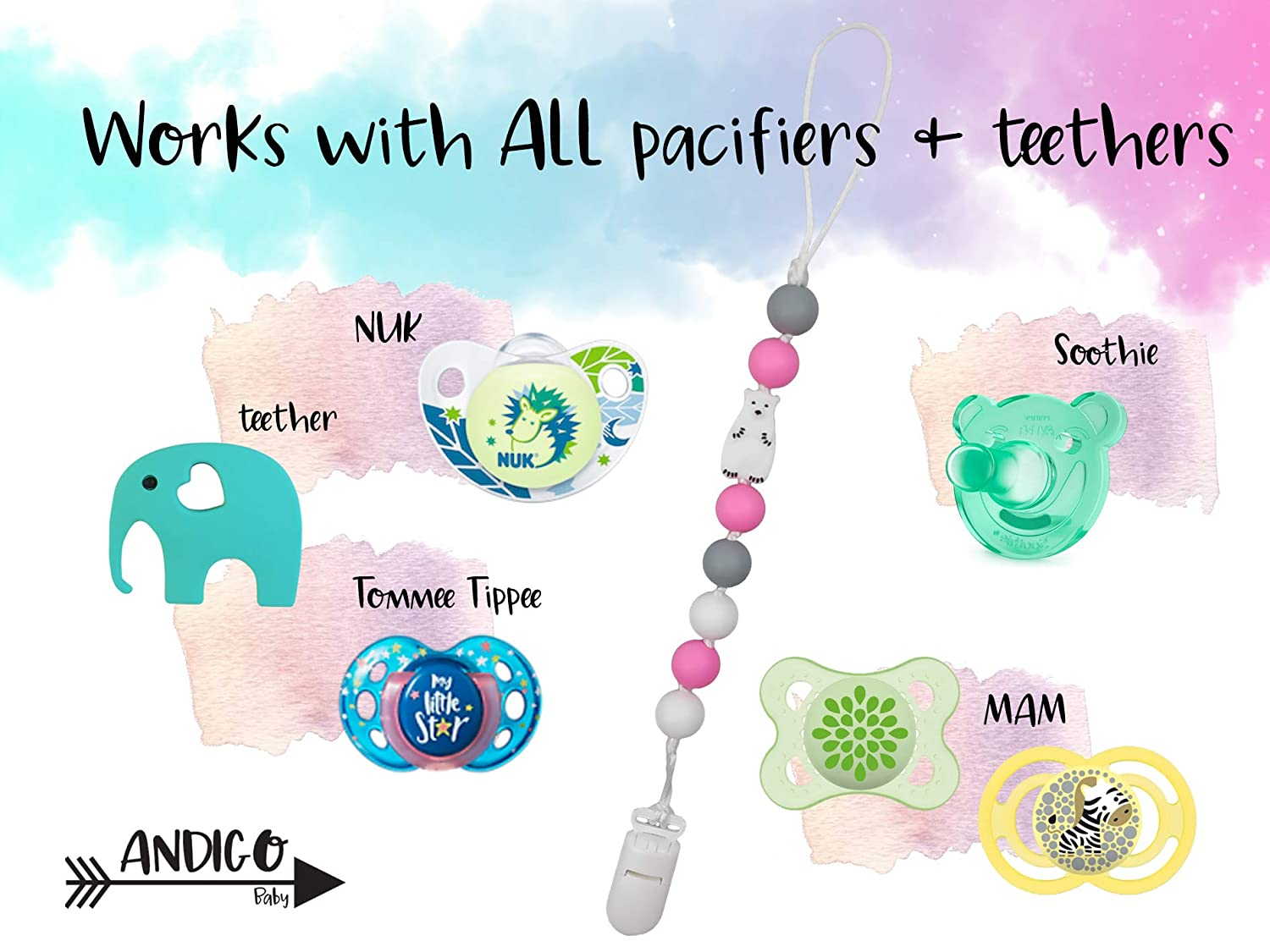 Pink NUK Compatible with MAM for Girls Pacifier Clip Holder Chain with Silicone Teething Beads Bear Single Soothie Tommee Tippee and Other Pacifiers Boys Set of Two Unisex