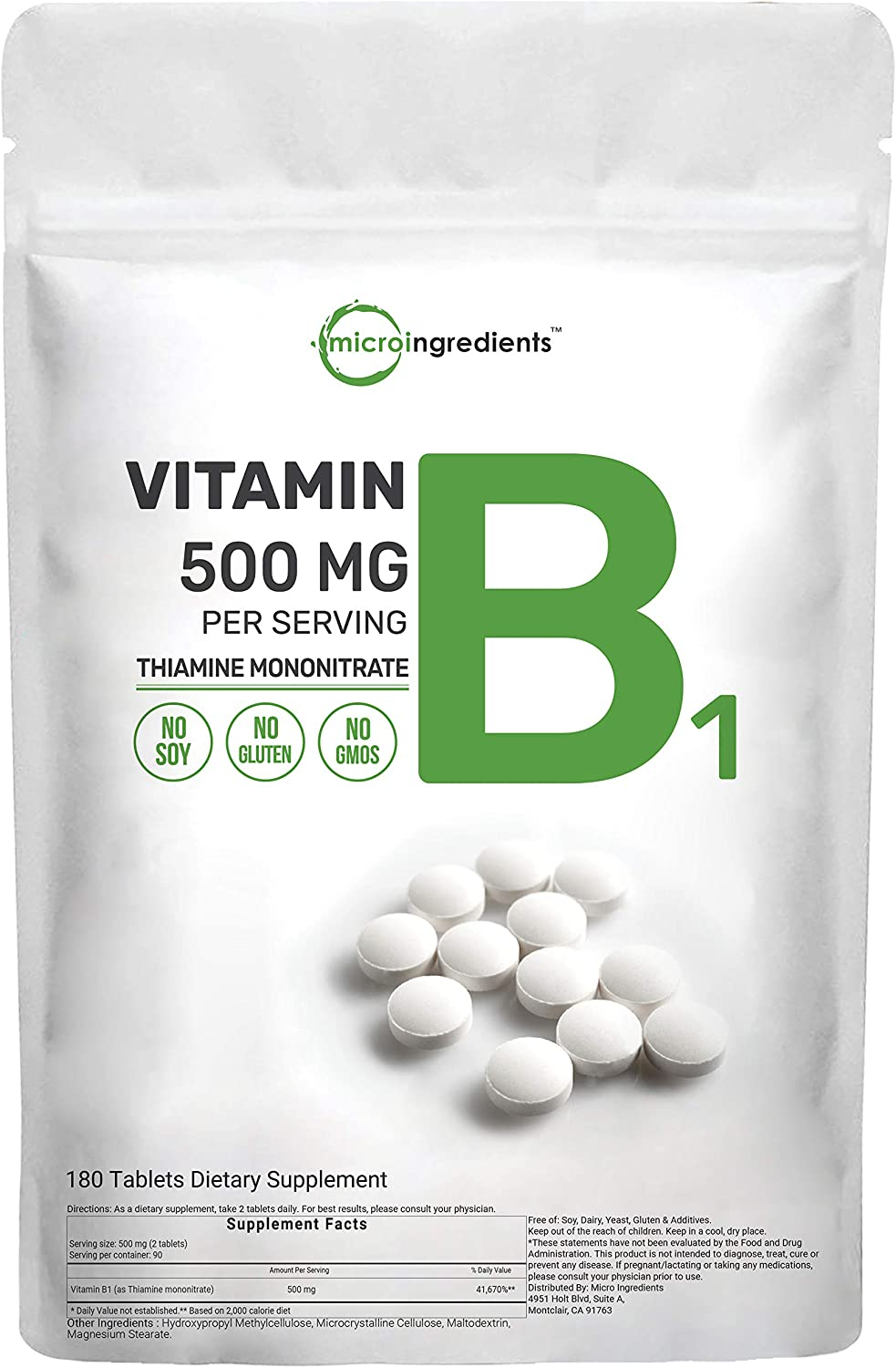 Micro Ingredients Vitamin B1 Thiamine Supplements, 500mg Per Serving, 180 Tablets, Promote Energy Production and Nervous System Health, No GMOs, No Soy