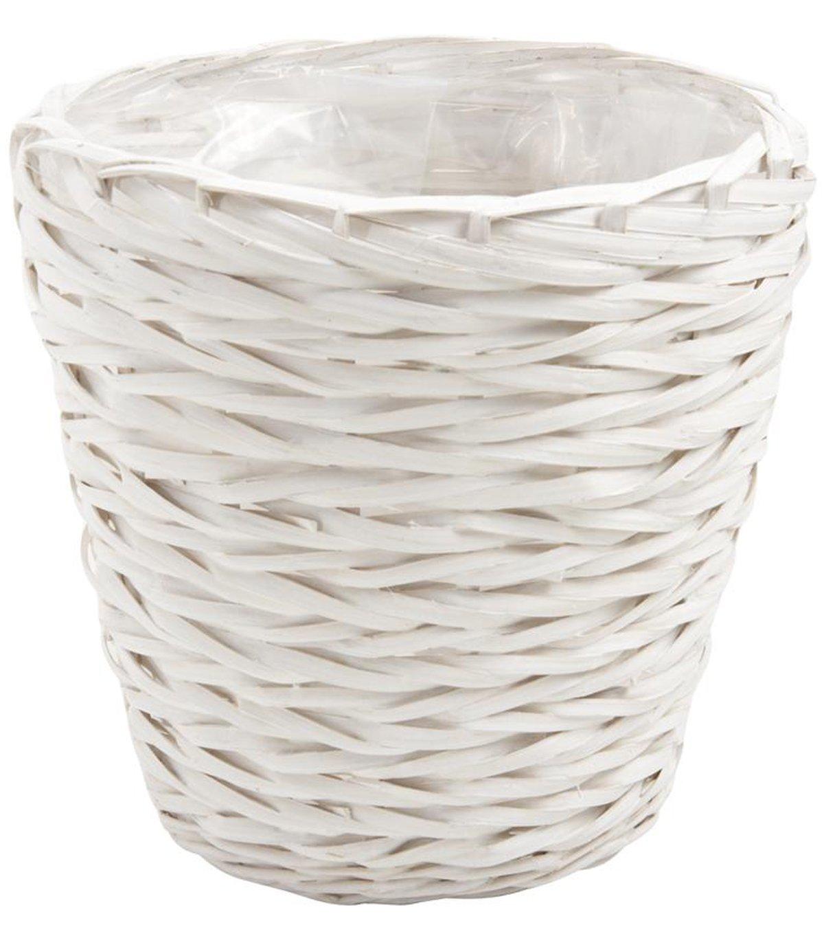 Corbeille à papier en éclisse laquée blanc, Ø 26 x H 25 cm -PEGANE