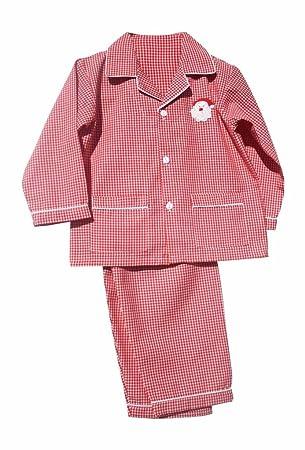 Santa Red and White Gingham Kids Christmas Boys Pajamas Lightweight Fabric