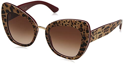 DOLCE&GABBANA 0DG4319 316113, Occhiali da Sole Donna, Rosso (Leo On Bordeaux/Browngradient), 51