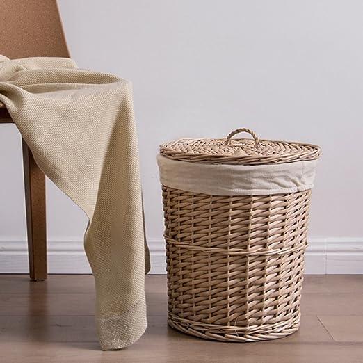 Wkkie Mimbre Rota Redonda Ropa sucia cesto Almacenamiento de ropa Cesta de ropa Cajas de almacenaje Con tapa Y Lino Guarnición-Mimbre: Amazon.es: Hogar