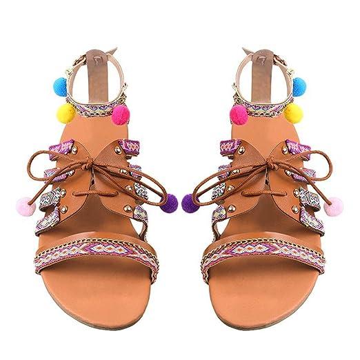 5dd0d05272d Women Bohemia Sandals Gladiator Leather Sandals Flats Shoes Pom-Pom Sandals  (US 5