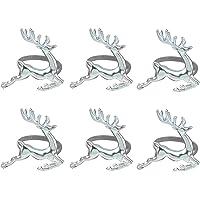 LUOEM 6 Piezas de servilletas de Navidad Anillos Soportes Elk Cervo servilletas Anillos Hogar Mesa Decoración para Navidad Boda Acción de Gracias Fiesta Uso Diario (Plata)