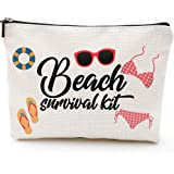 Beach Survival Kit Cosmetic Bag for Women,Adorable Roomy Makeup Bags Travel Waterproof Toiletry Bag Accessories Organizer Gif