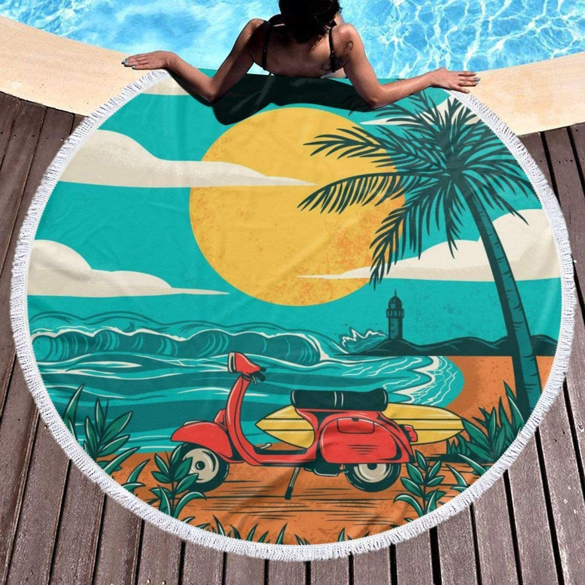 chenguang4422 Sunset Beach Palm Tree Printed Round Beach Towel Yoga Picnic Mat Round Tablecloth Ultra Soft Super Water Absorbent Terry Towel with Tassels