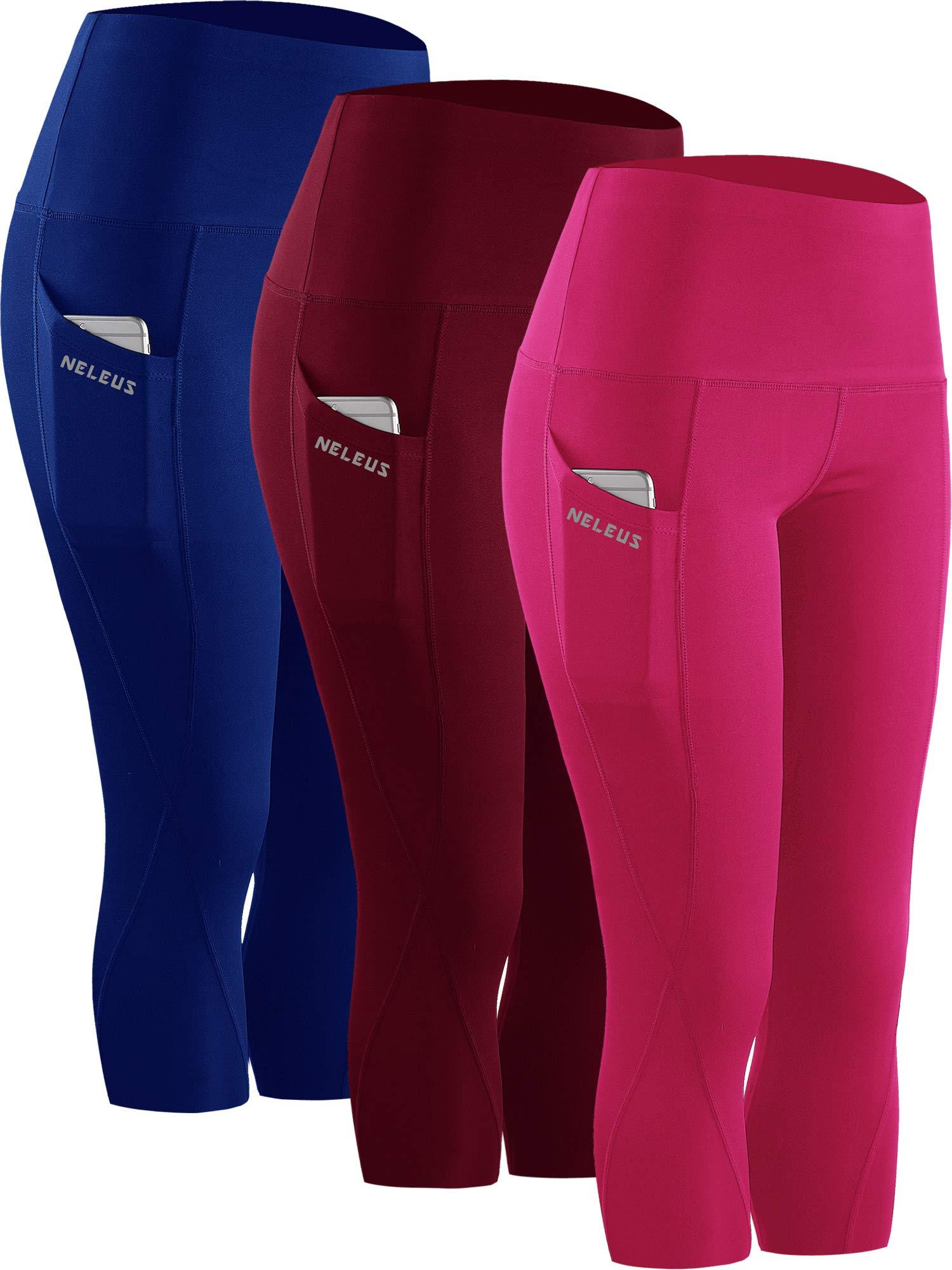 Neleus 3 Pack Workout Running Capris Tummy Control High Waist Yoga Leggings,9027,Dark red,Blue,Rose red,S,EU M