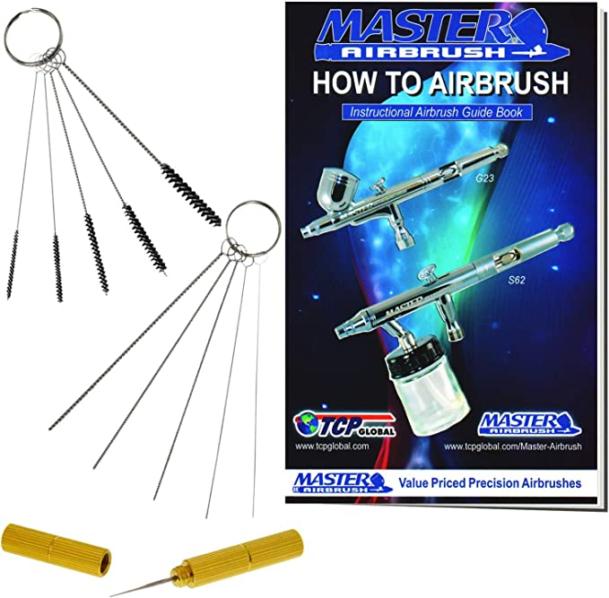 Glass Cleaning Pot Jar with Holder Master Airbrush 13 Piece Airbrush Cleaning Kit How to Book 1 Wash Needle 5 pc Cleaning Needles 5 pc Cleaning Brushes