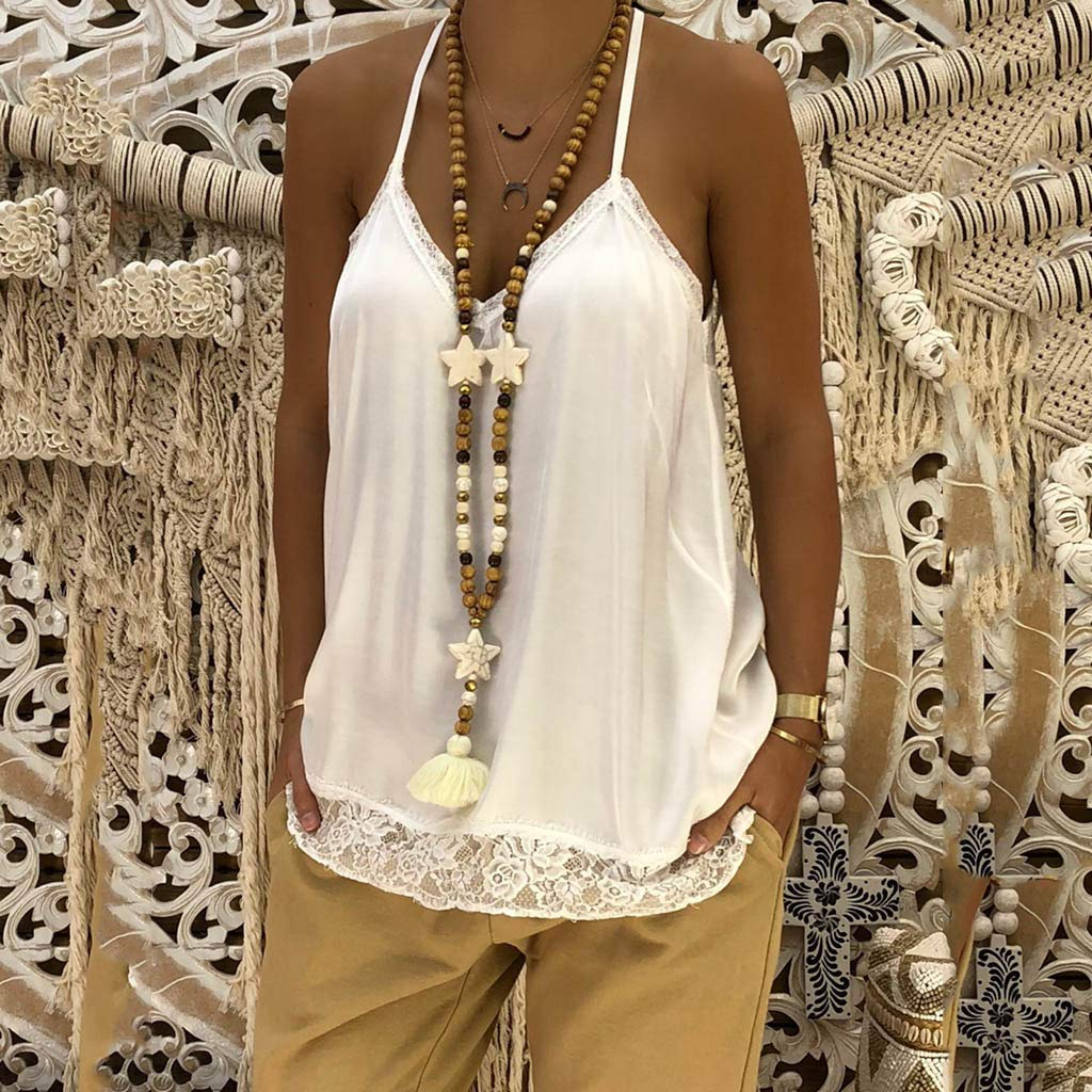 NUWFOR Women Ladies Solid Sexy Lace Patchwork Insert V-Neck Sling Loose Tank Top Blouse(White,US XS Bust:31.4'') by NUWFOR (Image #4)