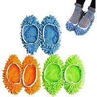 CoWalkers Lavable Mopa antipolvo Zapatillas Cubiertas de microfibra Mop zapatillas Zapatillas Limpiador de pisos de…
