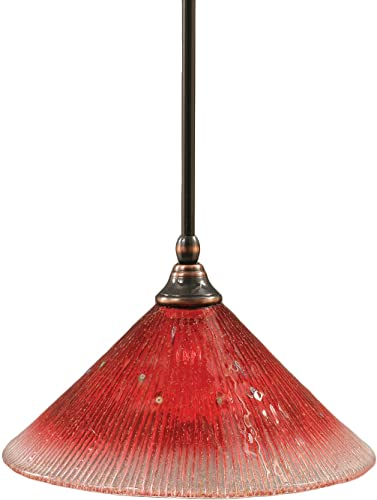 Toltec Lighting 23-BC-706 Stem Mini-Pendant Light Black Copper Finish with Raspberry Crystal Glass, 12-Inch
