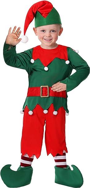 Amazon.com: Disfraz de ayudante de Papá Noel para niño, 2T ...