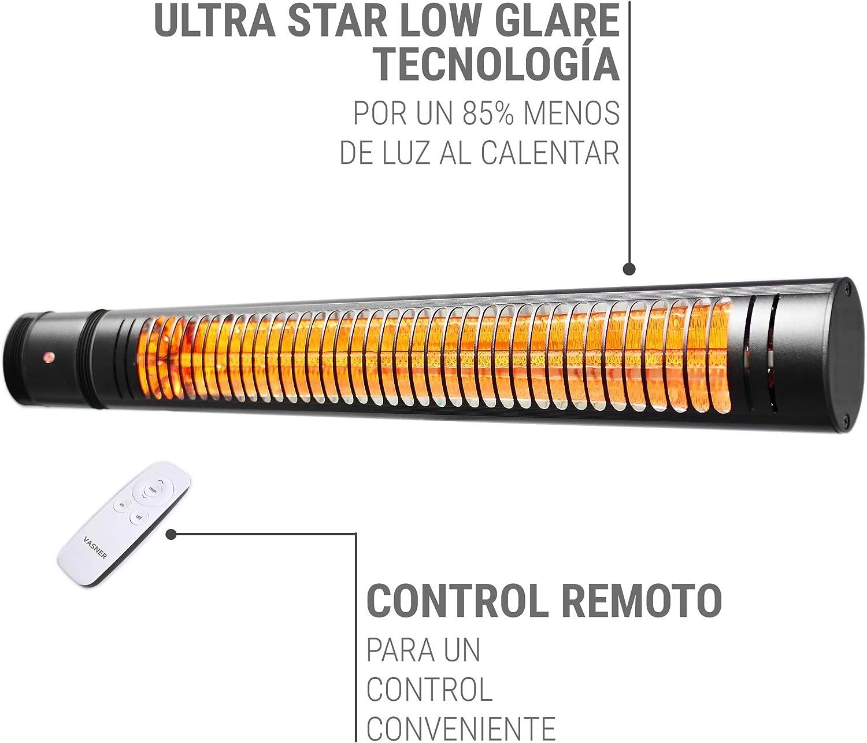 Calefactor electrico Control Remoto 2000 W Metal Pared y Techo Negro VASNER Slimline X20 bajo Consumo ba/ño radiador Infrarrojos Exterior