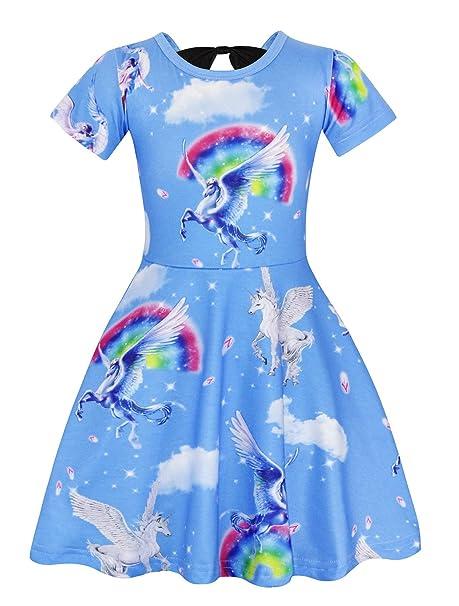 AmzBarley Trajes de Vestir de Fiesta de Unicornio para ni?as Vestidos de Ni?a de Manga Corta de Unicornio: Amazon.es: Ropa y accesorios