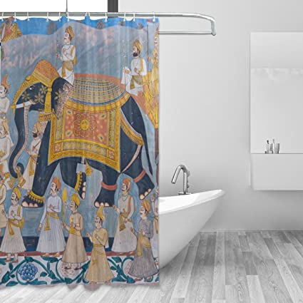 IMOBABY Indian Colourful Elephant Mural Pattern Shower Curtain Polyester Fabric Bathroom By Waterproof Mildew