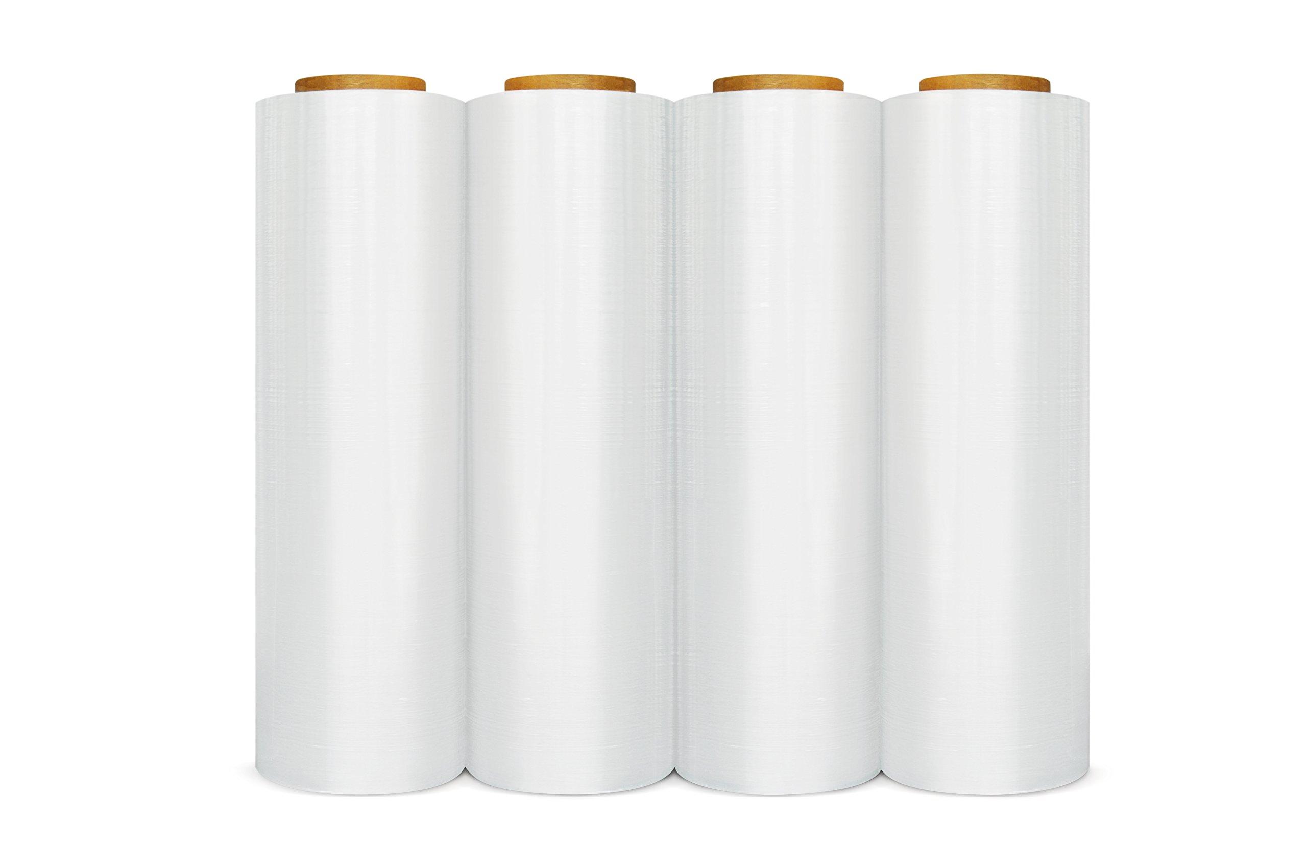 Stretch Film Wrap, Heavy Duty Shrink Wrap Roll, Clear, 18 Inch x 1500 Feet, 90 Gauge, 4 Pack by PackagingSuppliesByMail