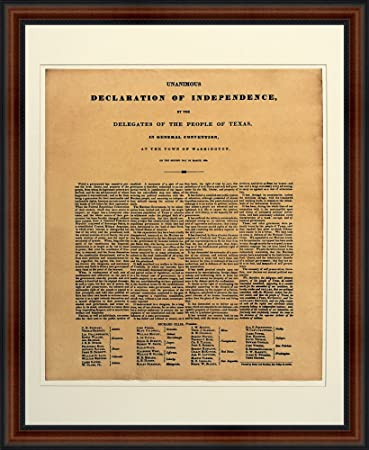 Amazon.com: Texas Declaration of Independence. High Quality Replica ...