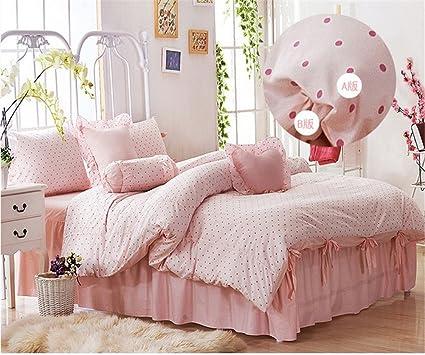 Amazoncom Joybuy Home Textile Blue Pink Polka Dot Bedding Sets