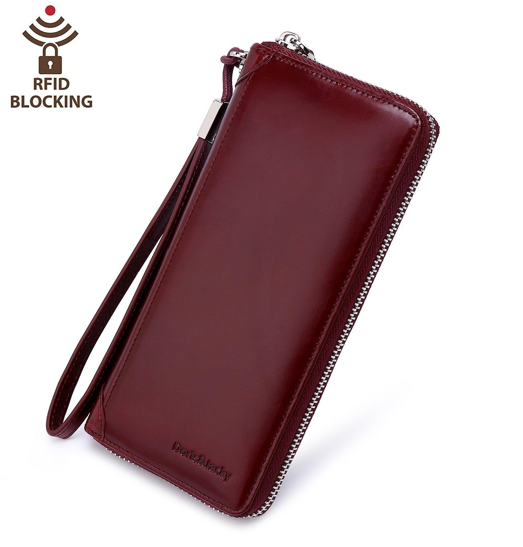 Women Zippered Wax Genuine Leather Wallet RFID Blocking Clutch With Wrist Strap (Wine red)
