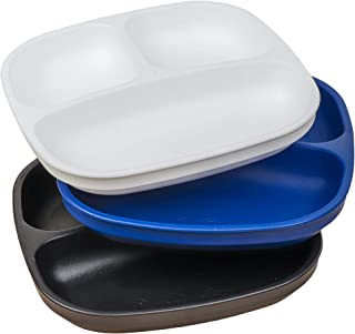 product image for Re-Play 3pk Divided Plates with Deep Sides for Easy Baby, Toddler, Child Feeding (Navy/White/Black) Droid
