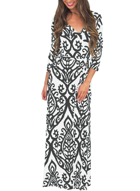 Leindr Womens 3 4 Sleeve V Neck Damask Print Faux Wrap Boho Maxi Long Dress with Belt at Amazon Womens Clothing store: