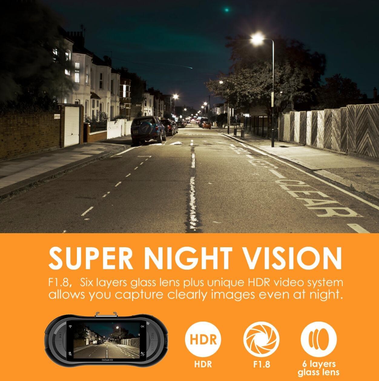 Vantrue X3 WIFI Dash Cam, Super HD 2.5K Car Dashboard Camera 1440P Car Camera with Ambarella A12 Chipset, 170°Wide Angle, Super HDR Night Vision, Loop Recording, Parking Mode, Motion Detection by VANTRUE (Image #4)